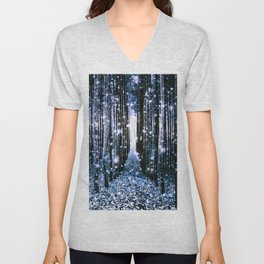 Magical Forest Dark Blue Elegance Unisex V-Neck