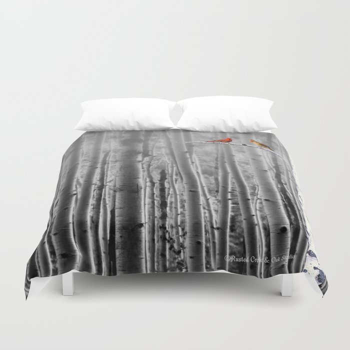 Red Cardinals in Birch Forest A128 Duvet Cover
