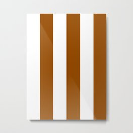 Wide Vertical Stripes - White and Brown Metal Print