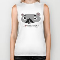 moustache Biker Tanks featuring moustache by Sucoco