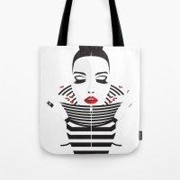 striped Tote Bags featuring striped by Yordanka Poleganova