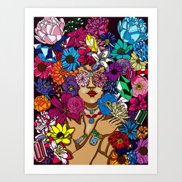 Girl in Precious Gems and Flowers Art Print