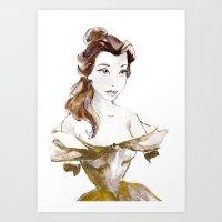 belle Art Prints featuring Belle by waterandinkprints
