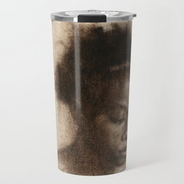 Shawna Portrait Painting of African Woman in Brown Travel Mug