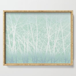 Frosted Winter Branches in Misty Green Serving Tray