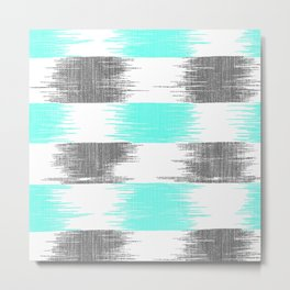 Retro teal gray abstract modern ikat pattern Metal Print