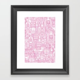 gingerbread town pink Framed Art Print
