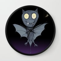 bat Wall Clocks featuring Bat by Bwiselizzy