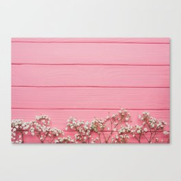 Baby's Breath x Candy Pink Wood Canvas Print