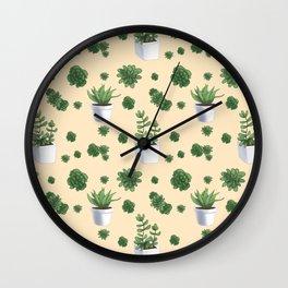 Succulent Cream Wall Clock