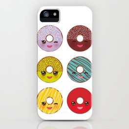 Kawaii colorful donut with pink cheeks and winking eyes, Sweet donuts set with icing and sprinkls iPhone Case