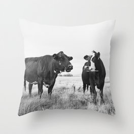 Cattle Photograph in Black and White Throw Pillow