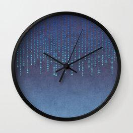 Dark Glamour blue faux glitter rhinestones Wall Clock