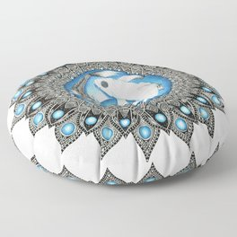 Yin and Yang Butterfly Koi Fish Mandala Floor Pillow