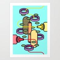 hot dog Art Prints featuring Hot dog by Jan Luzar