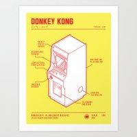 donkey kong Art Prints featuring ARCADE CAB - DONKEY KONG by KOMBOH