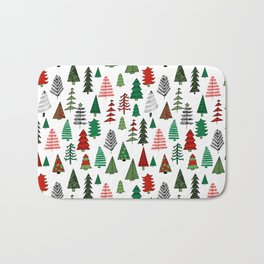 Christmas tree forest minimal scandi patterned holiday forest winter Bath Mat