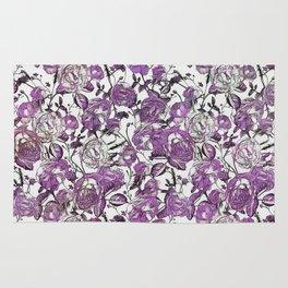 Purple Vintage Retro Flower Pattern Rug