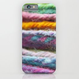 Close up of Colorful Handspun Yarn iPhone Case