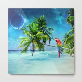 Parrot in the beach Metal Print