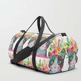 Cat with flowers Duffle Bag
