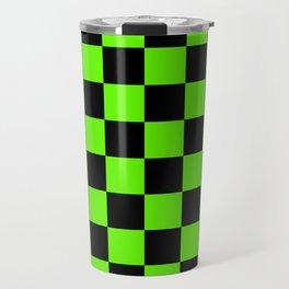 Checkered Pattern: Black & Slime Green Travel Mug