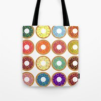 donuts Tote Bags featuring Donuts!! by Ron Trickett (Rockett Graphics)