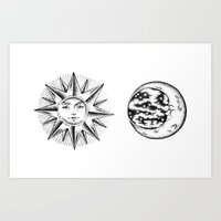 sun and moon Art Prints featuring Sun & Moon by Cady Bogart