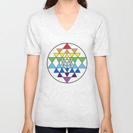 Sri Yantra Rainbow Unisex V-Neck