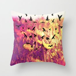 Dandelions and Crows Throw Pillow