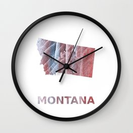 Montana map outline Red Gray Clouds watercolor Wall Clock