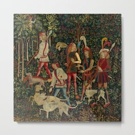 The Hunters Enter the Woods (from the Unicorn Tapestries) 1495–1505 Metal Print