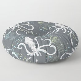 Ghostly Squid Damask Floor Pillow