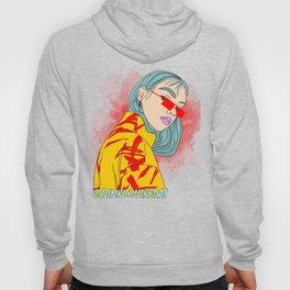 CUZ IM KOOL LIKE DAT - Cool Asian Female with Blue Hair Digital Drawing Hoody