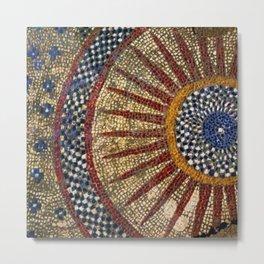 Ancient Roman Tesserae Sun Gems, Glass, & Stone Mosaic Tile Relief Metal Print