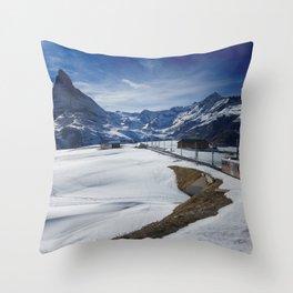 Gornergrat train towards Matterhorn mountain in winter Throw Pillow
