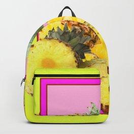 CONTEMPORARY SLICED PINEAPPLE YELLOW & FUCHSIA ART Backpack