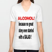 alcohol V-neck T-shirts featuring alcohol by Sava Miskovsky