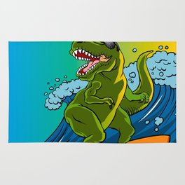 Cartoon illustration of a dinosaur surfing. Rug