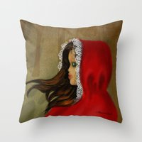 red riding hood Throw Pillows featuring Red Riding Hood by Alannah Brid