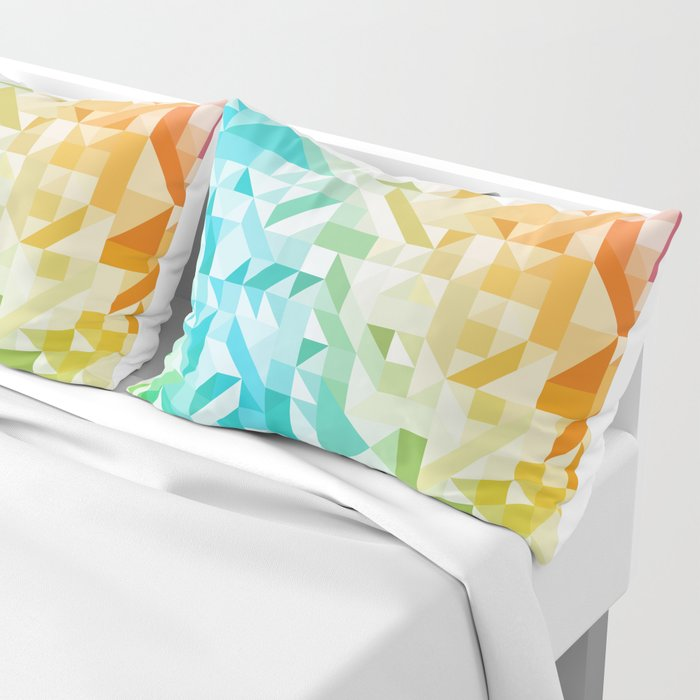 Colorful Geometric Pattern Saturated Rainbow Pattern Design (Red Pink Orange Yellow Green Blue) Pillow Sham