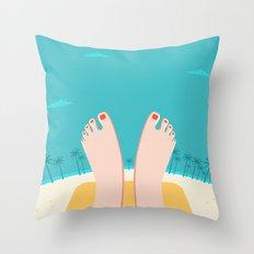 Feet on Beach Throw Pillow