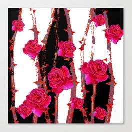 MODERN ART PINK ROSE BLACK & WHITE ART Canvas Print