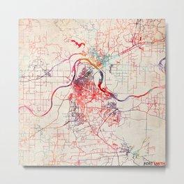 Fort Smith map Arkansas painting Metal Print