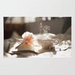 Morning Reflections- journal with a flower pen and a hot drink Rug