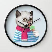 ice cream Wall Clocks featuring Ice cream by Tummeow