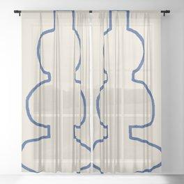 Line Art Study Shape Vase No.8 Sheer Curtain