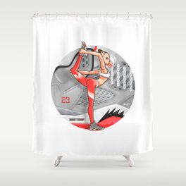 """Yoga girl CoolNoodle and """"Hot LAVA"""" Shower Curtain"""