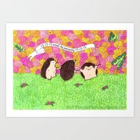 patriarchy Art Prints featuring Hedgehogs Smash the Patriarchy! by PlatypusSecretary