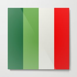 Green, Star White And Red Vertical Color Blocks Metal Print